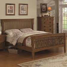 Queen Size Varnished Brown Walnut Wood Bed Frame With Vertical Ladder  Headboard, Magnificent Bed Frame