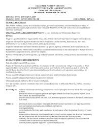 Motor Vehicle Mechanic Resume Sample Sidemcicek Com