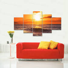 wieco art 5 panels stretched large size the morning sea hd canvas prints framed wall art on large framed canvas wall art with wieco art 5 panels stretched large size the morning sea hd canvas