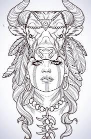 контур тату с девушкой и головой быка Girl татуировки эскиз