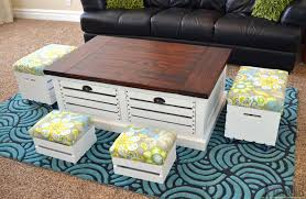 Coffee Table Stool Crate Storage Coffee Table And Stools Her Tool Belt