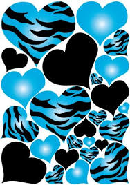 blue animal print wallpaper. Plain Blue Blue Radial Zebra Print Hearts Wall Sticker Decals On A 18in By 25in Sheet And Animal Wallpaper G
