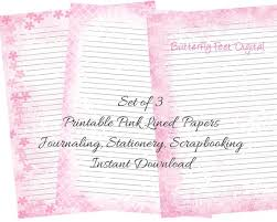 Lined Pages For Writing Classy Pink Printable Journal Pages Printable Stationery Lined Etsy