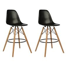 26 inch counter stools. Set Of 2 DSW Black Plastic 26 Inch Counter Stool With Wood Eiffel Legs Stools