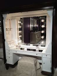 black and white makeup vanity. furniture, black makeup table with lighted mirror and small fabric bench #makeup vanity white e