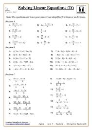 grade 7 math equations worksheets with 54 algebra year yr maths 6
