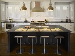 Adorable Kitchen Islands With Stools With Black Wooden Mateials Added With  Four Iron Chairs Added With