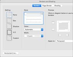 customize borders in the borders and shading dialog box