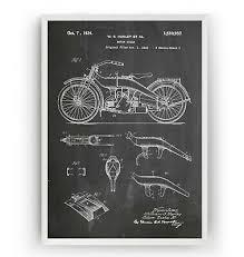 harley davidson motorcycle patent print