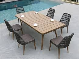 newest rattan dining furnitue set with oval shape plastic timber outdoor table top