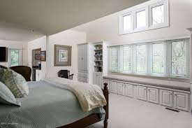 Traditional Master Bedroom with Window seat, Custom Made Bay Window Seat,  High ceiling,