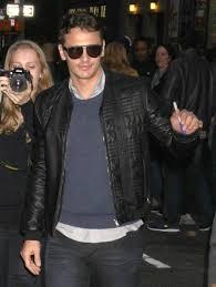james franco wears gucci black quilted leather er jacket