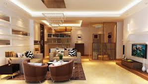 luxurious living room design with luminous tray ceiling lights on leather  seats furniture