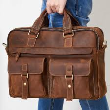 Crossten 100% <b>Genuine Cow Leather Men's</b> business Briefcase ...