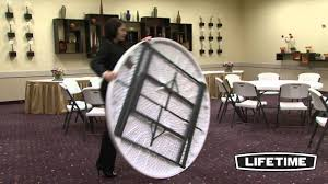 Fold In Half Round Table Lifetime 60 Round Commercial Tables Chairs Combo Youtube