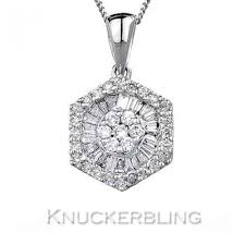 details about 0 30ct genuine diamond pendant f vs 18ct white gold with chain baguette cut