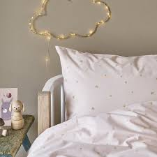 starry sky pale rose gold bed linen hibou home