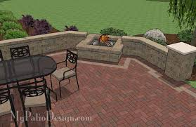 Small Picture Backyard Brick Patio Design with Seating Wall and Fire Pit Plan
