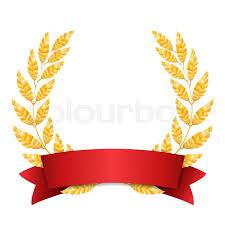 Red Ribbon Design Gold Laurel Vector Set Shine Wreath Award Design Red