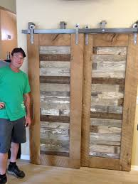 excellent reclaimed oak and pabst blue ribbon factory floor bypass sliding with barn door style closet