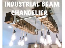 picture of diy industrial beam chandelier with led edison bulbs