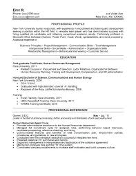 Sample Human Resources Resume Entry Level