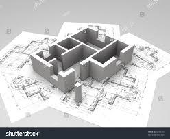 architecture blueprints 3d. 3D Plan On Top Of Architecture Blueprints. 3d Illustration Blueprints C