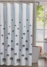 Envogue Bosworth Fabric Shower Curtain Lucky Elephant Grey Gray