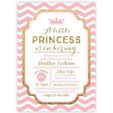 Chevron Princess Baby Shower Invitation Pink And Gold Glitter