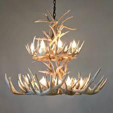 small whitetail antler chandelier 2 tier whitewash