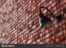 The Brick Lighting Lighting Fixtures Installed Brick Wall Stock Photo