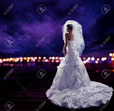 Wedding Dress With Lights Bride In Wedding Dress With Veil Fashion Bridal Beauty Portrait