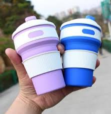 2018 Hot Folding Coffee Cup Mold Travel Mug Silicone Sleeve With Lid