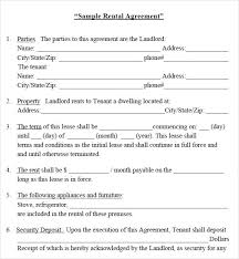 sample rental agreement letter house rental agreement template