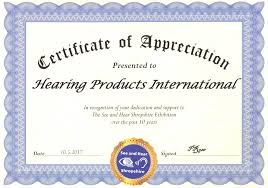 Certificates Of Appreciation Certificate Of Appreciation Hearing Products International