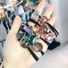 <b>Korea Colorful Geometric Crystal</b> Ball Elastic Hair Bands Rubber ...