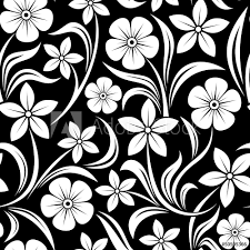 Fotobehang Bloemen Zwart Wit Seamless Pattern With Flowers Vector