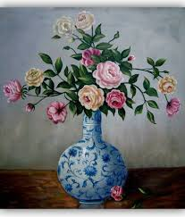 vitalwalls oil painting flowers in chinese blue and white vase premium canvas art print vitalwalls oil painting flowers in chinese blue and white