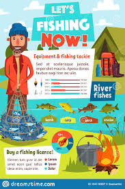 Fishing Activity Chart Fishing Infographics With Fisherman Tackle Chart Stock