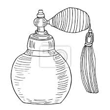 Vintage butelki perfum. artystyczny szkic sztuki liniowej z udarami.  Fototapeta • Fototapety dezodorant, Flakon, ampułka | myloview.pl