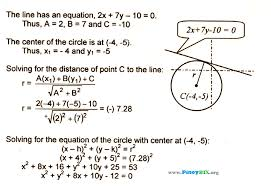 solution find the equation of the circle given the center and tangent to the line