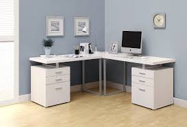 trendy white l shaped computer desk with drawers and solid legs for corner stylish designs