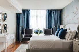 Navy blue curtains bedroom contemporary with hollywood regency ...