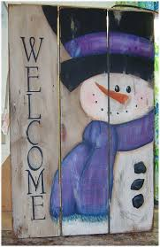 pallet painting ideas christmas. rustic primitive snowman welcome sign handpainted on reclaimed old barn wood pallet painting ideas christmas