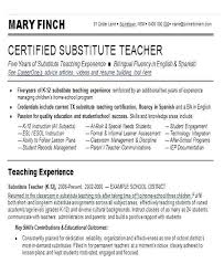 Substitute Teacher Resume Simple Resume For Substitute Teacher Teaching Skills For Resume Substitute