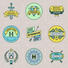 レトロなデザインの色の流行に敏感な徽章 ストックベクター