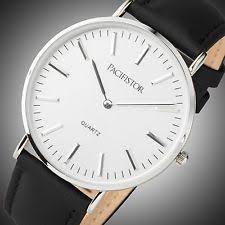 ultra slim watch pacifistor mens quartz wrist watch ultra thin slim fashion sports black leather