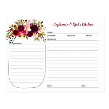 card recipe burgundy floral mason jar newlywed recipe cards