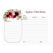 Burgundy Floral Mason Jar Newlywed Recipe Cards