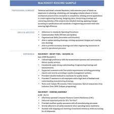 Machinist Sample Resume Chic Inspiration Cnc Regarding Template